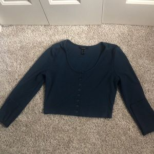 Blue long sleeve button up crop top